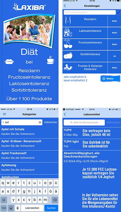 Die Laxiba App: Die von Dir vertragene Menge eines Lebensmittels stets zur Hand haben. Für Reizdarm, Fructose-, Laktose- und Sorbitintoleranz.